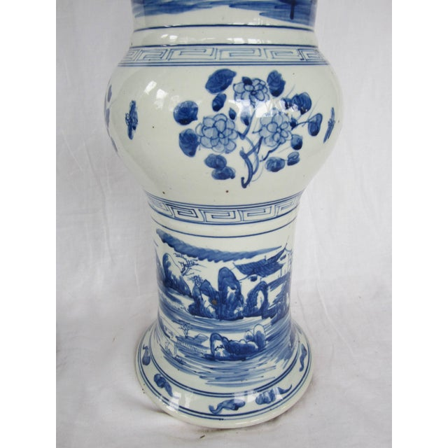 Asian Pair of Large Blue and White Chinese Trumpet Vases For Sale - Image 3 of 9