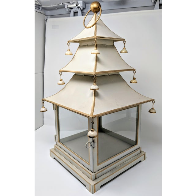 Asian Antiqued Three-Tier Tole Pagoda Lantern For Sale In Providence - Image 6 of 13