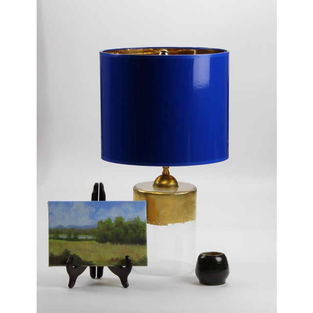 Modern Medium Cobalt Blue Drum Lamp Shade With Gold Lining For Sale - Image 3 of 5