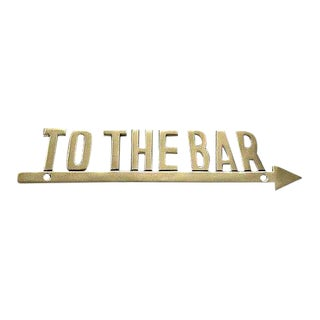 "Vintage ""To the Bar"" Brass Arrow Sign For Sale"