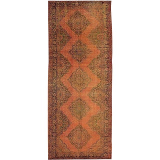 "Turkish Vintage Handwoven Rustic Orange Wool Runner Rug - 4'11"" x 12'8"" For Sale"