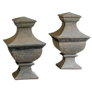 1930s Vintage French Stone Architectural Garden Finials - a Pair For Sale