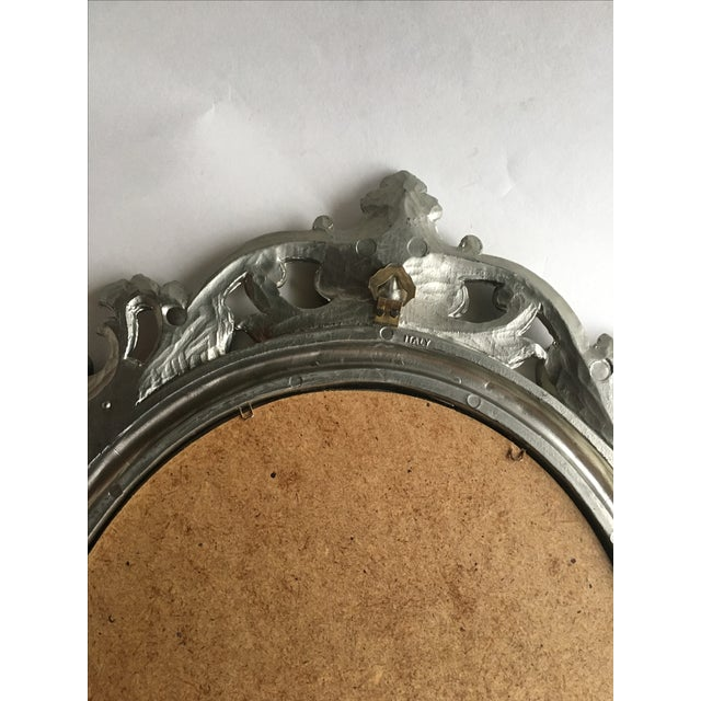 Antique Italian Baroque Gilted Scroll and Flower Oval Mirror - Image 8 of 8