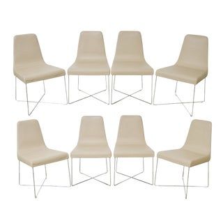 Modern Ligne Roset Chrome & Leather Dining Chairs- Set of 8 For Sale