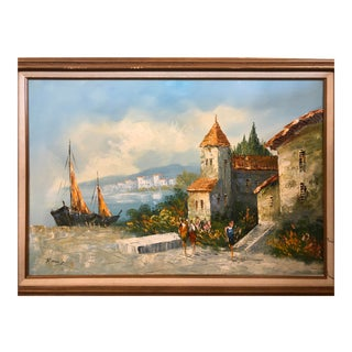 "Vintage 1984 Rinon G ""Village"" Painting For Sale"