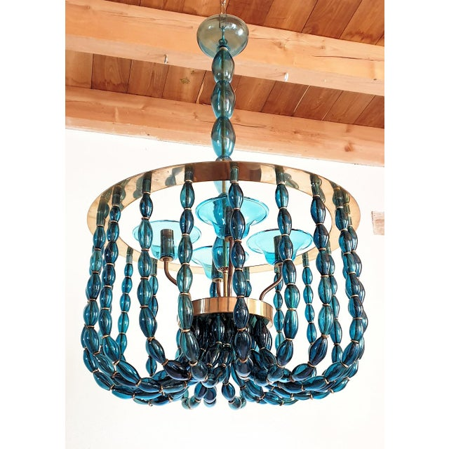 Large blue Murano glass, Mid Century Modern chandelier, attributed to Venini, Italy 1960s. A classic Montgolfiere shape,...