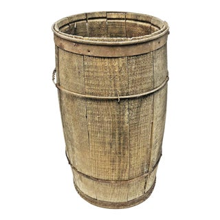 Vintage Rustic Banded Weathered Wood Nail Keg