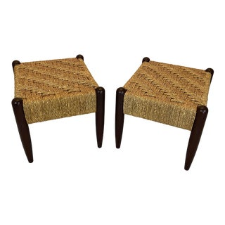 Late 20th Century Vintage Danish Modern Woven Foot Stool Bench - a Pair For Sale