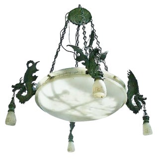Bronze Dragon Chandelier with Spanish Alabaster For Sale