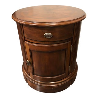 Traditional Universal Furniture Solid Wood Cherry Drum Side Table For Sale