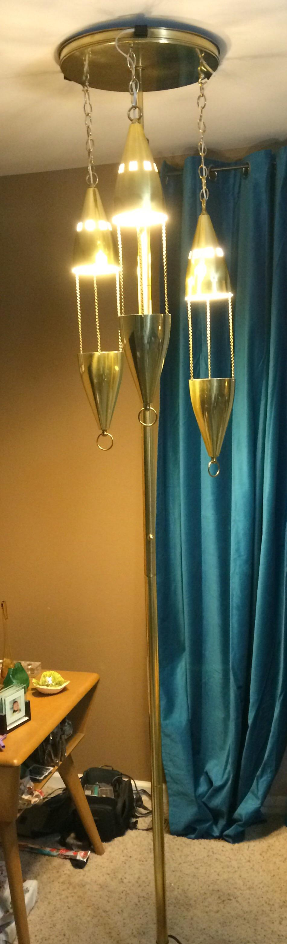 Mid Century Brass Tension Pole Lamp   Image 2 Of 11