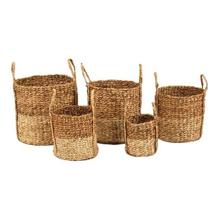 Axel Woven Basket in Brown - Set of 5 For Sale