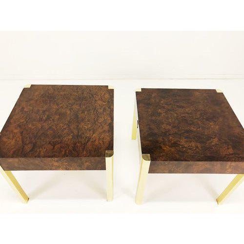 Very chic Milo Baughman attributed for Century furniture burl wood and brass tables. Small nick to drawer front of one...