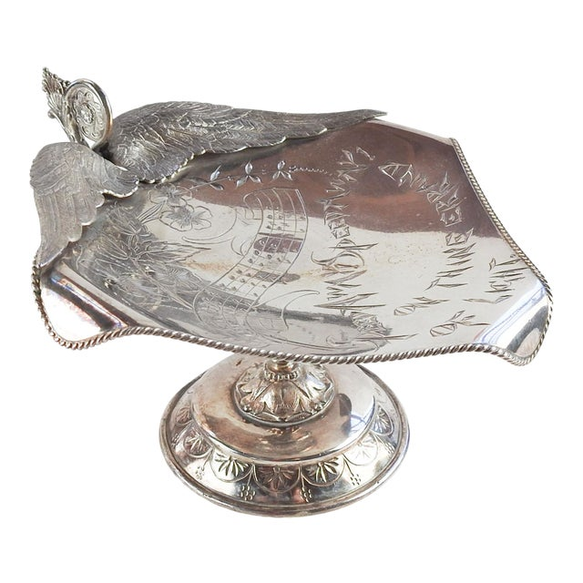 Antique Aesthetic Movement Card Tray Wings & Music For Sale