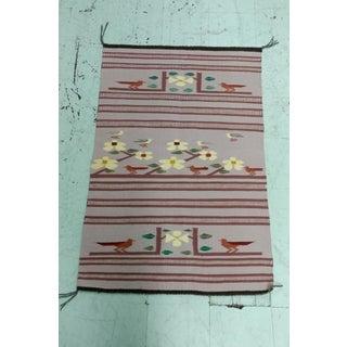 Navajo Hand Woven Wool Saddle Blanket w/Desert Runner Birds