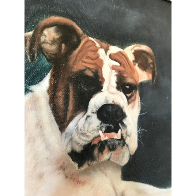 "2000 - 2009 2000s Portraiture Framed Oil Painting, ""Bulldog Portrait"" For Sale - Image 5 of 7"