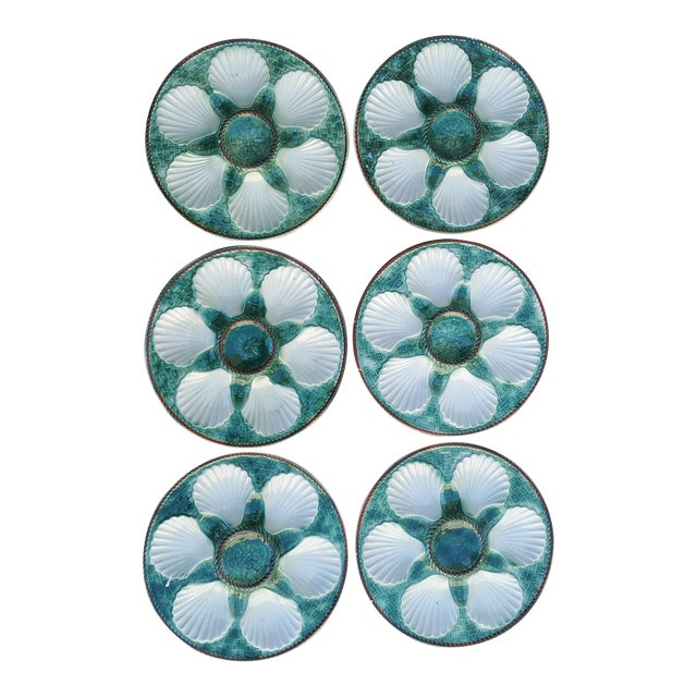 Majolica Oyster Plates - Set of 6 For Sale