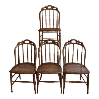 1890s French Country Hand Tied Caned Seats Oak Chairs - Set of 4 For Sale