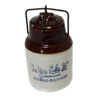 Antique American Stoneware Horsh Radish Jar For Sale