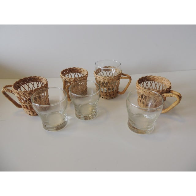 Set of (4) Woven Rattan Holders Drinking Glasses For Sale - Image 4 of 7