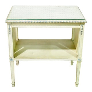 Swedish Glass Top Two Tier End Table