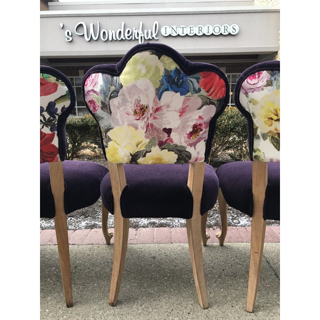 19th Century Antique Bohemian Tufted Rococo Dining Side Chairs Cabriole Legs - Set of 6 Mohair With Designers Guild Floral Print For Sale - Image 9 of 13