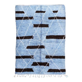 Moroccan Boujaad Vintage Handmade Rug Abstract Blue and White Rug, For Sale