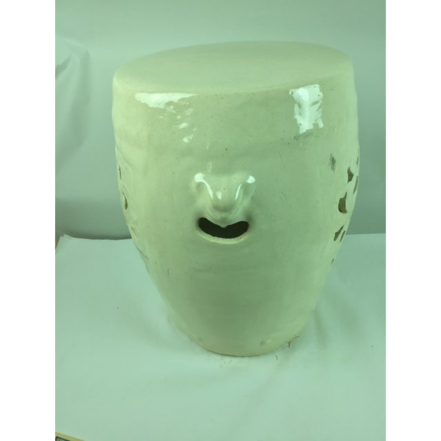 Vintage White Pierced Asian Garden Seat Stool For Sale - Image 10 of 13