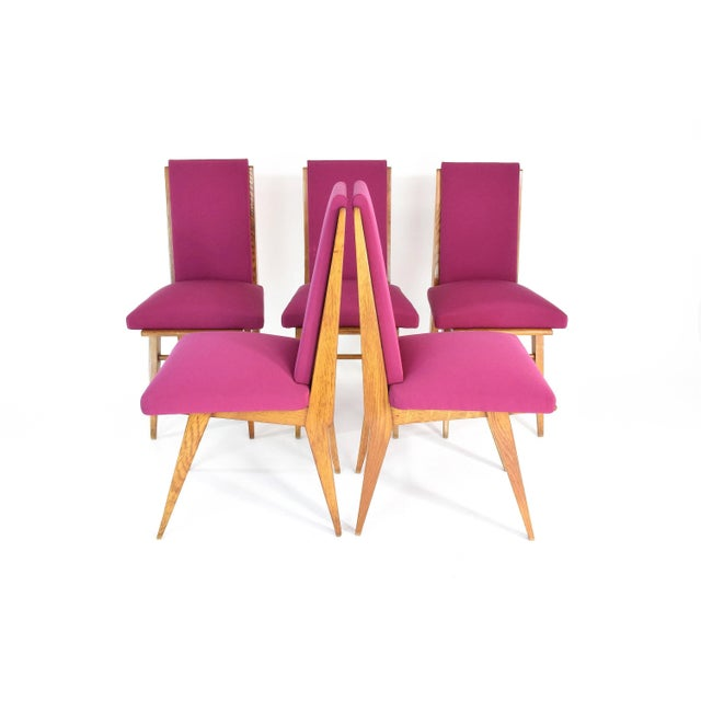 Mid 20th Century French Art Deco Dining Chairs, Set of Five, 1940s For Sale - Image 5 of 12