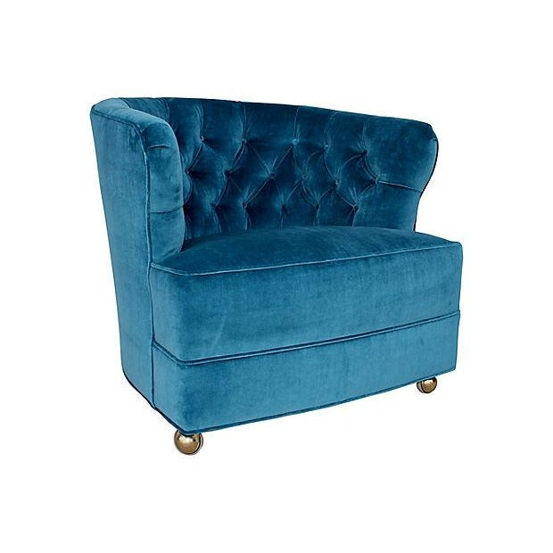 Tufted Velvet Bucket Chair For Sale In San Diego - Image 6 of 9