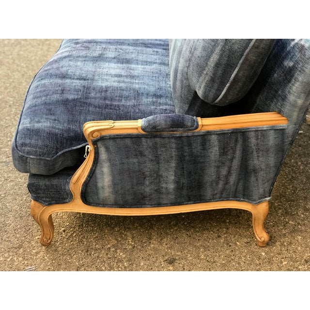 Early 20th Century Early 20th Century Antique French Dip-Dyed Ombre Indigo Fabric Settee For Sale - Image 5 of 10