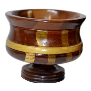 Contemporary Wooden Pedestal Bowl For Sale