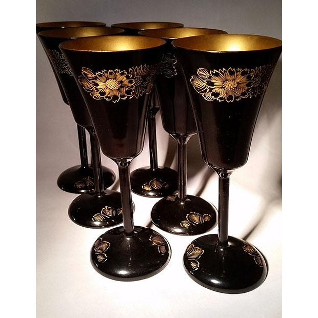 Japanese Black & Gold Lacquerware Wine Glasses For Sale - Image 5 of 5