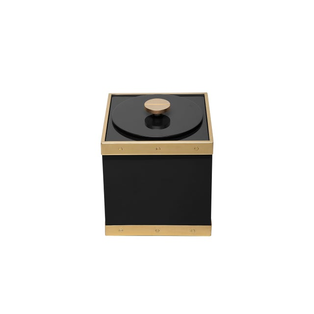 Contemporary Edge Ice Bucket in Black / Brass - Flair Home for The Lacquer Company For Sale - Image 3 of 5
