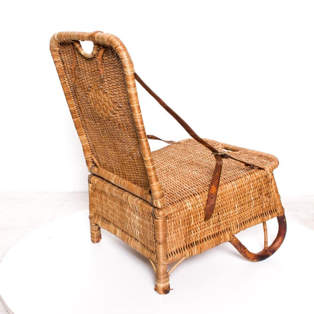 Tan Mid Century Modern Rattan Leather Sculptural Portable Traveling Chair For Sale - Image 8 of 11