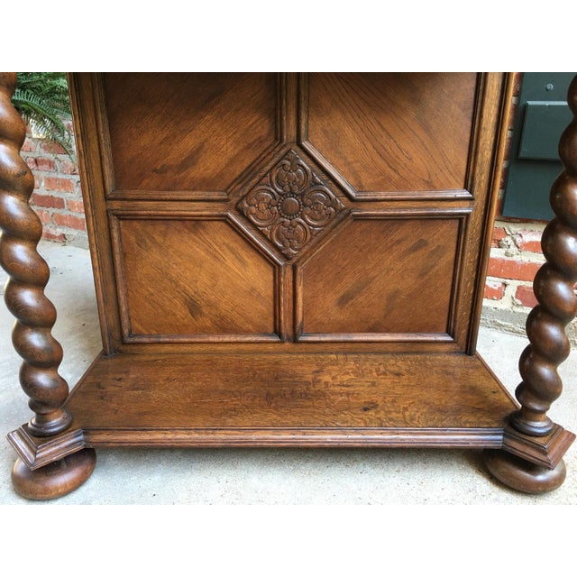 Antique English Carved Oak Barley Twist Hall Console Table Cabinet Gothic Stand For Sale - Image 4 of 12