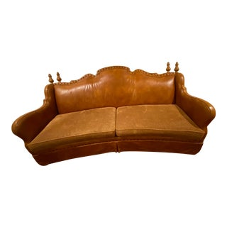 Brown Leather & Fabric Sofa For Sale
