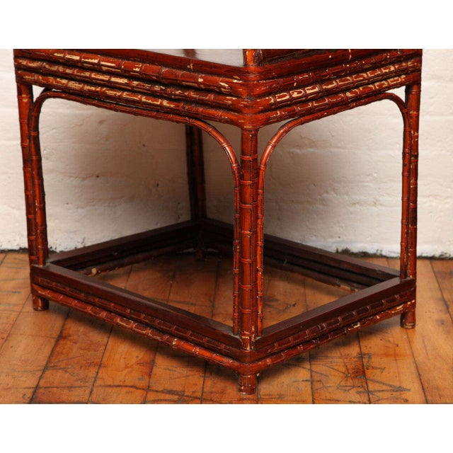 Mid 19th Century Single 19th Century Chinese Horseshoe-Back Bamboo Armchair with Elm Base For Sale - Image 5 of 12