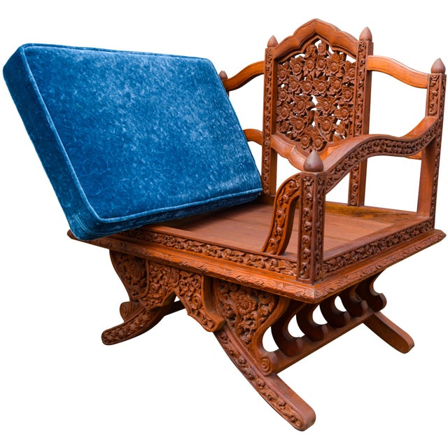 Wood Anglo-Indian Carved Rosewood Chairs, Pair For Sale - Image 7 of 9