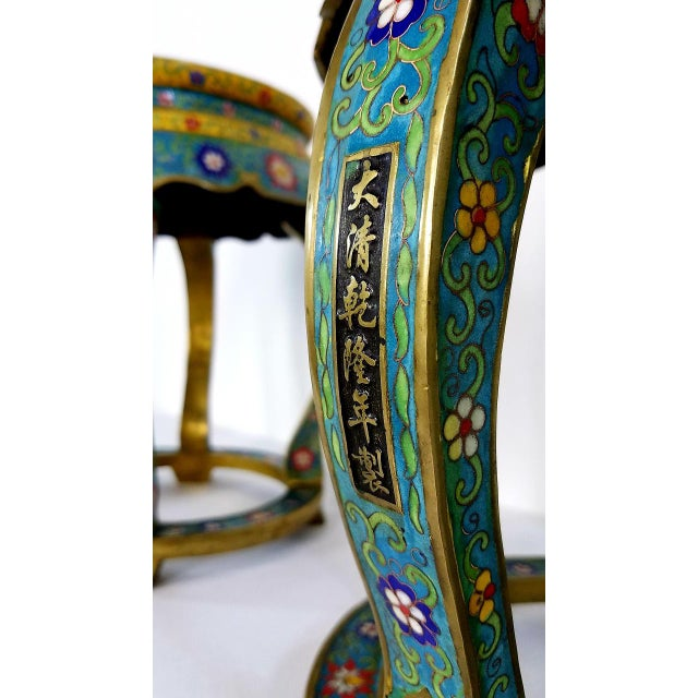 Bronze Chinese Cloisonne Bronze Stools - a Pair For Sale - Image 7 of 13
