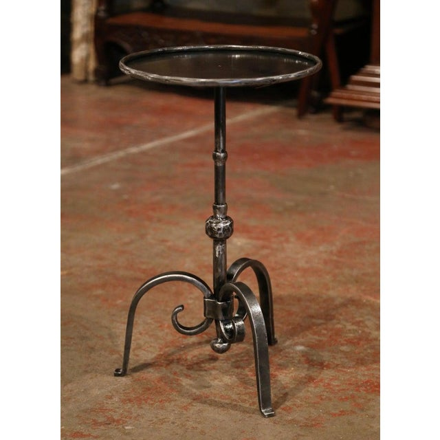 Early 20th Century French Polished Iron Martini Pedestal Table For Sale In Dallas - Image 6 of 10