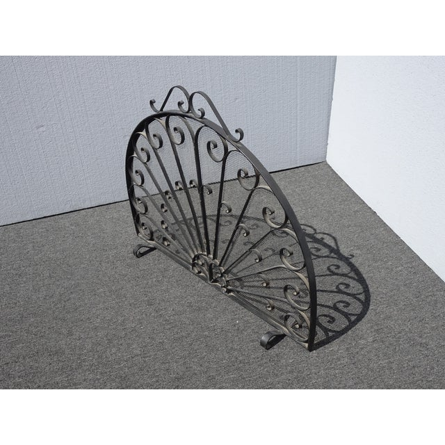 1970s Vintage Spanish Style Black Metal Fireplace Screen W Scrolls For Sale - Image 5 of 13