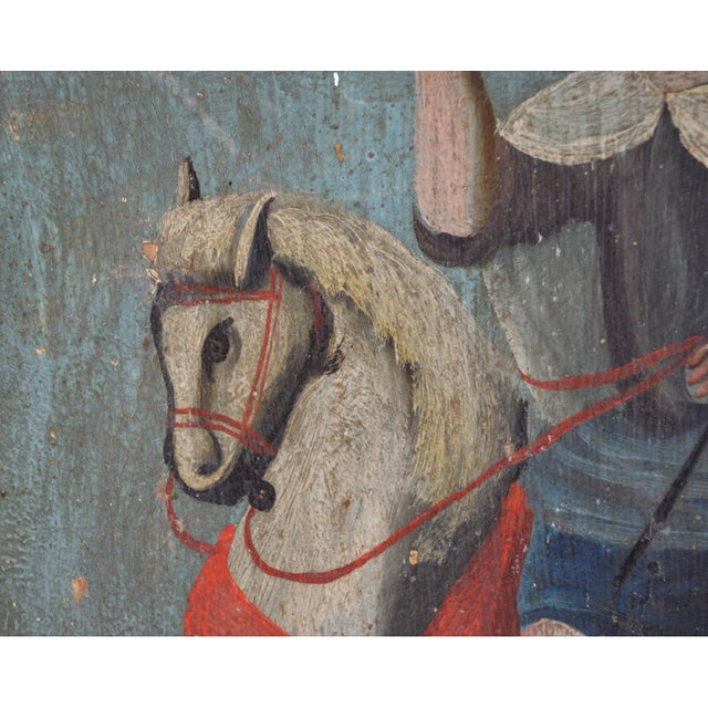18th Century Spanish Colonial Folk Retablo of St. James the Moor-Slayer For Sale In Greenville, SC - Image 6 of 13