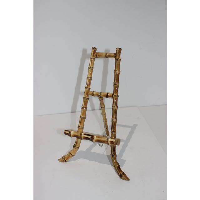 Vintage Handcrafted Tabletop Display Easel Lacquered Bamboo For Sale - Image 4 of 12