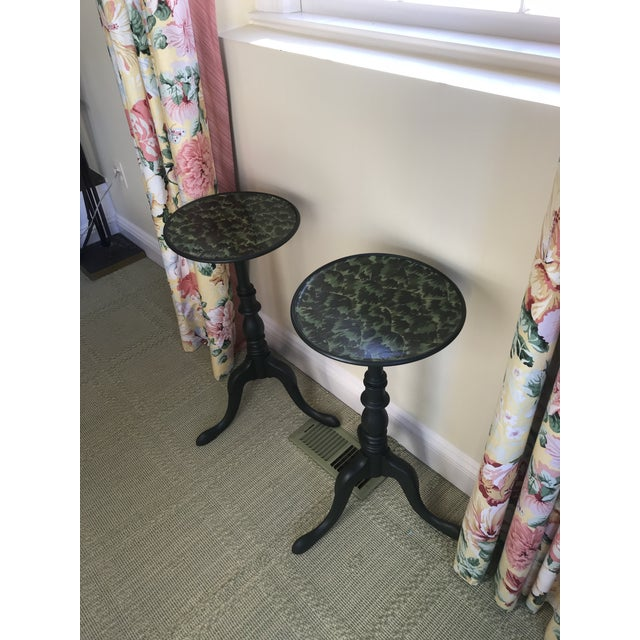 Early 20th Century 20th Century Regency Faux Tortoise Shell Top Side Tables - a Pair For Sale - Image 5 of 7