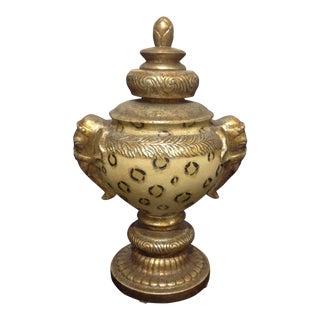 Vintage Pedestal Animal Motif Urn With Lid & Elephant Handles For Sale