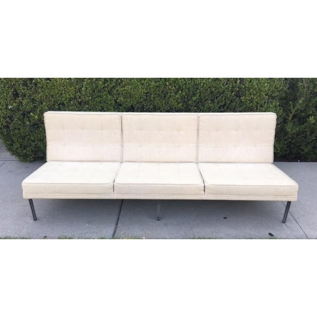 "A stunning rare Herman Miller Florence Knoll ""parallel bar"" armless sofa in great condition,original knoll fabric with no..."