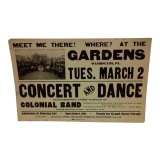 Concert & Dance Poster Gardens Black Americana Concert & Dance Poster For Sale