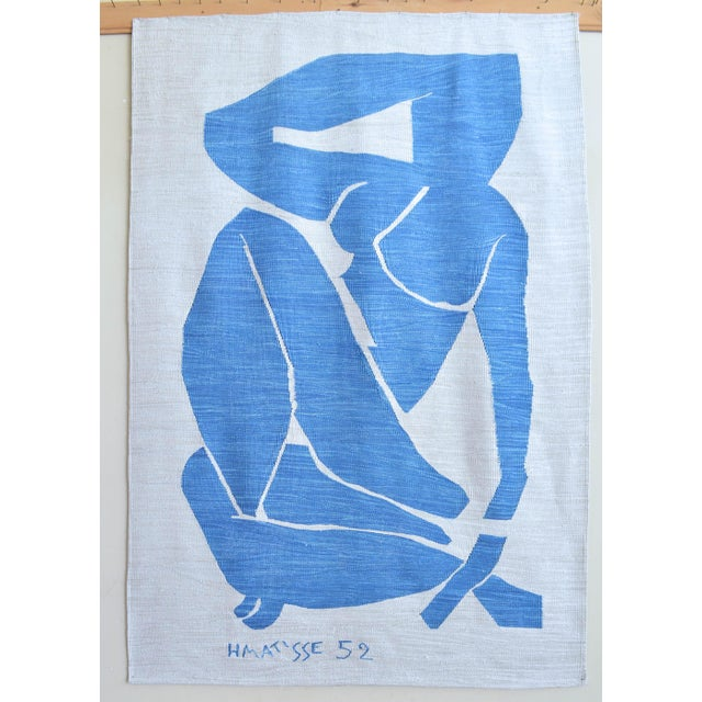 Henri Matisse - Blue Nude 3 - Inspired Silk Hand Woven Flat Weave Area - Wall Rug 4′8″ × 6′10″ For Sale - Image 11 of 12