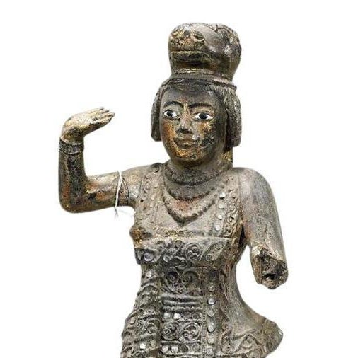 This beautifully carved Thai statue depicts an elegant lady wearing an ornate dress with miniature mirrored inserts,...